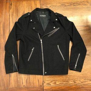 Express Black Wool Blend Bomber Jacket